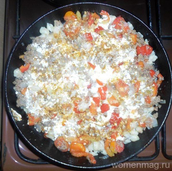 Запеканка из макарон с мясным фаршем и овощами