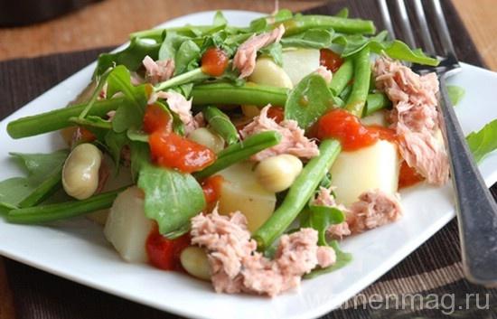 Салат из стручковой фасоли и курицы