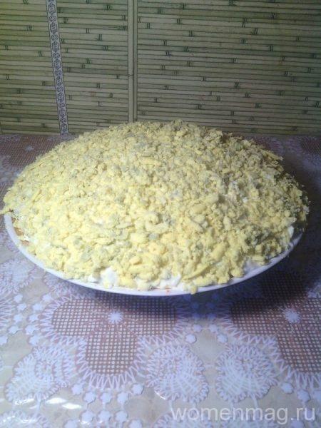 Слоеный салат Мимоза с сайрой