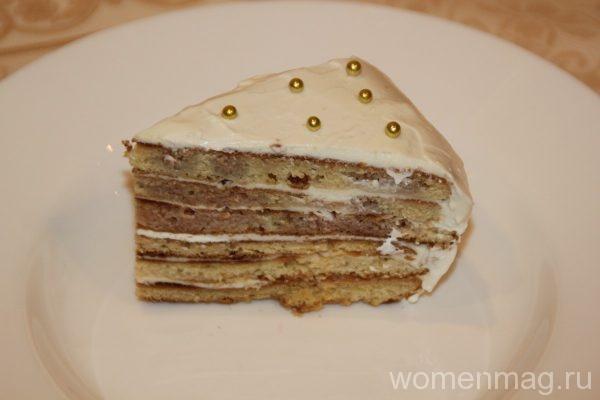 Торт Снежинка со сметанным кремом и коржами со сковороды