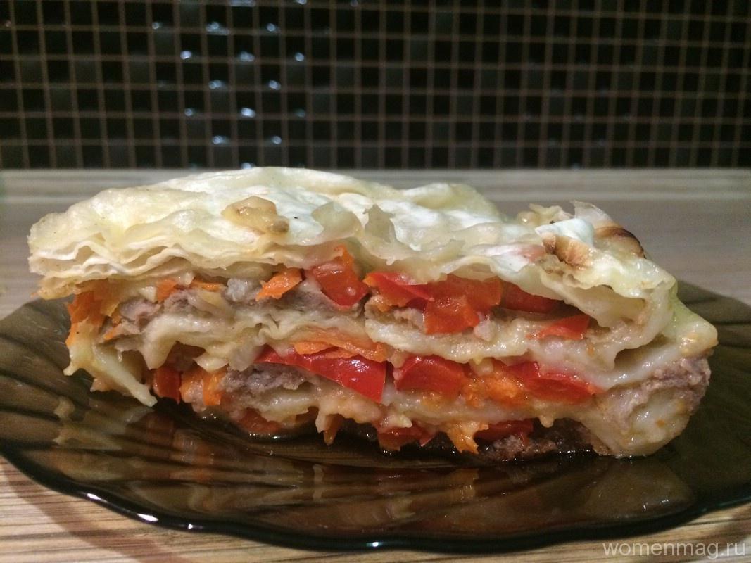 Ленивый слоеный пирог из лаваша с курицей в мультиварке