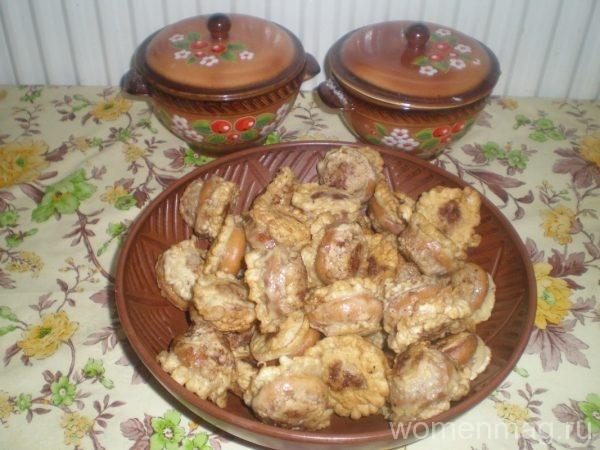 Бублики, фаршированные мясным фаршем, на сковороде
