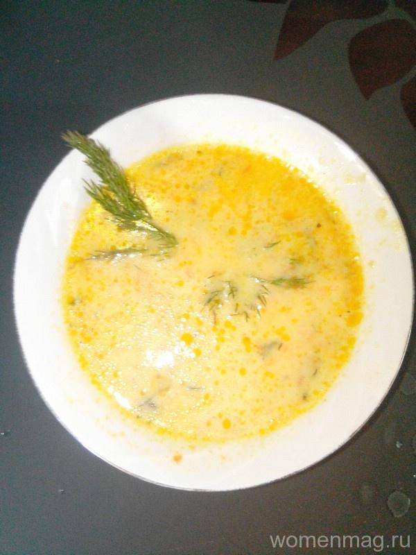 Рисовый суп на курином бульоне с плавлеными сырками