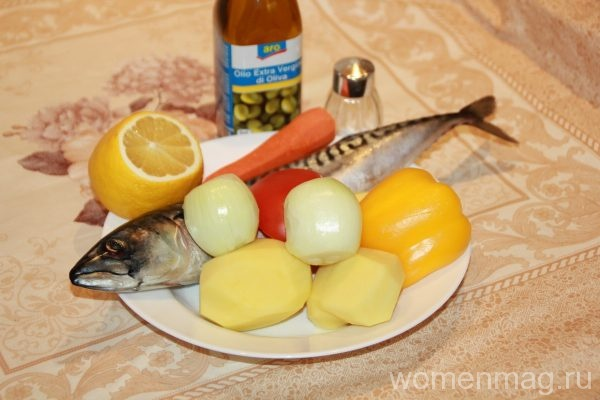Скумбрия, запеченная в духовке с овощами