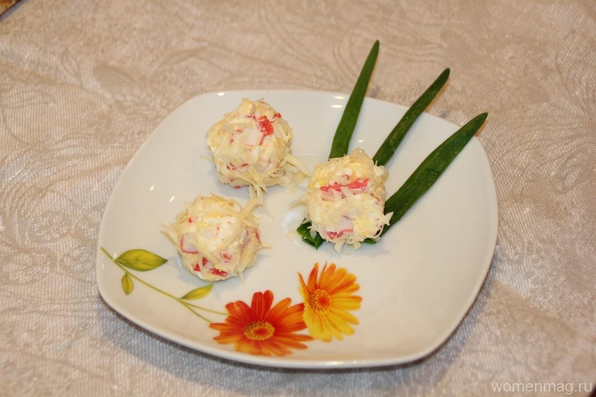 Закуска шарики из крабовых палочек с сыром «Снежки»