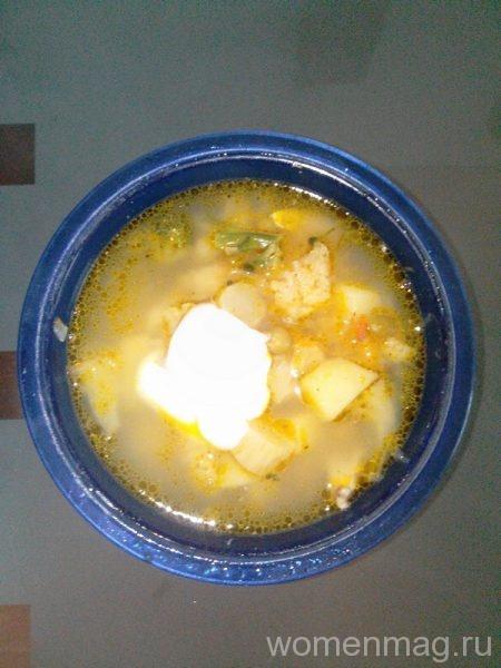Суп из цветной капусты с горошком