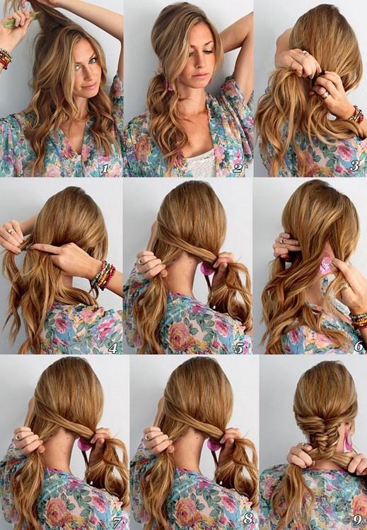 Косы на волосы своими руками фото пошагово