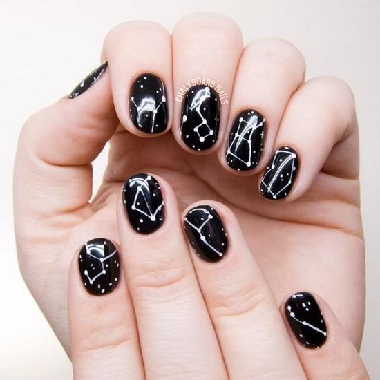 Рисунок на чёрных ногтях