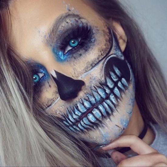Нарисованный на лице череп картинки
