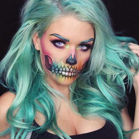 рисунки на лице для хэллоуина девочке