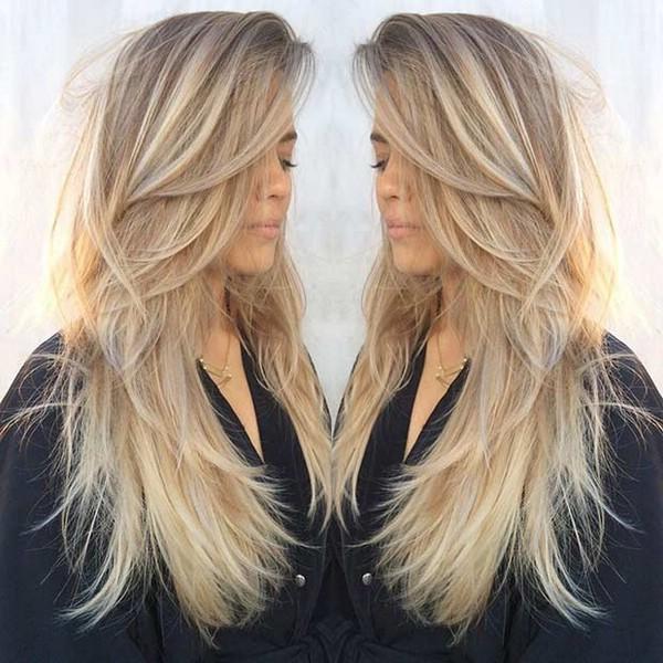Стрижка слоями на длинные волосы