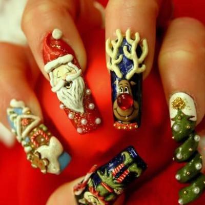 Новый год: рисунки на ногтях