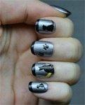 Новые идеи стильных черных рисунков на ногтях