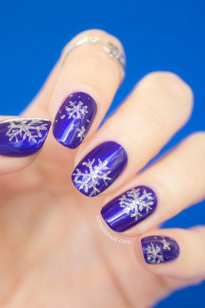 Зимние рисунки на ногтях (фото)