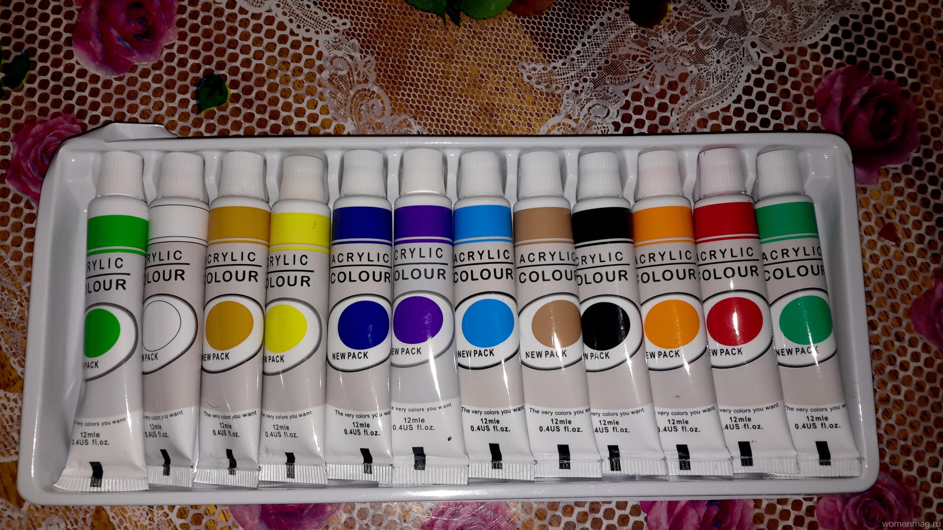 Отзыв на акриловые краски Acrylic colour LH-6103 12 цветов, купленные на сима-ленде. Не советую!