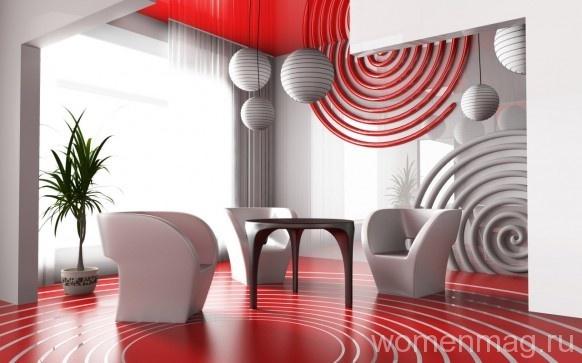 Красно-белый интерьер
