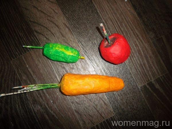 Овощи в технике папье маше своими руками