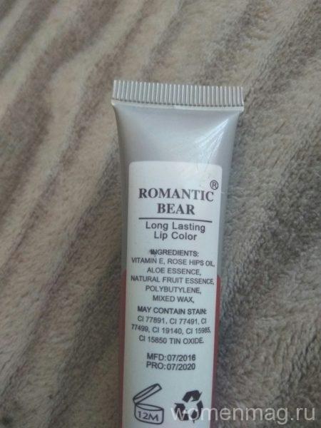 Тинт для губ Romantic Bear в оттенке Cherry Red