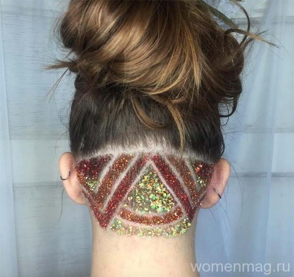 Женские стрижки undercut с блестками