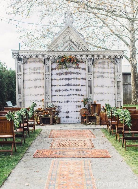 Свадьба в стиле бохо: в моде ковры вместо свадебной дорожки