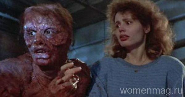 Учёный Сет Брандл, поставивший на себе опыты, и Вероника в фильме Муха / The Fly (1986)