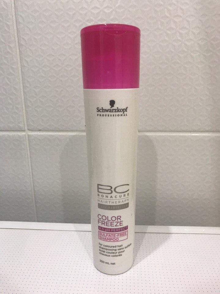 Безсульфатный шампунь для окрашенных волос Schwartzkopf Bonacure Color freeze sulfate-free. Отзыв